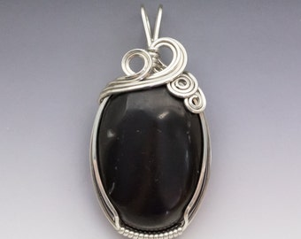 Shungite Gemstone Sterling Silver Wire Wrapped Pendant - Made to Order, Ships Fast!