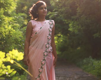 Baby Pink Rose Pure Chiffon Ribbon-Work Saree, Beautiful, Elegant, Floral, Bollywood, Indian, Hand embroidery, Pink, Rose bud