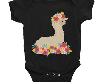 Llama Baby Onesie Shower Gift Floral Crown