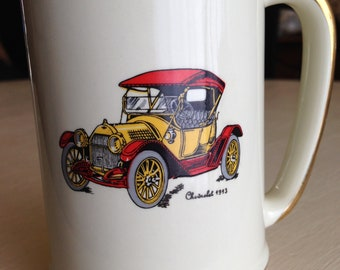 Vintage Hyalyn Art Pottery Collector's Coffee Mug 1913 Chevrolet 625, 1960's
