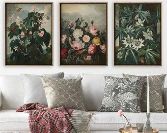 BOTANICAL Print SET of 3, Lovely Flower Poster,  Botanical illustration, botanical poster, botanical decor, Pasion Flower, Begonia, Roses