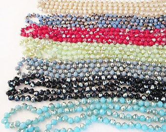 Knotted Crystal Necklace, 8mm Crystal Bead Necklace, Double Wrap Necklace, Colorful Long Wrap Necklace, Pick Your Color - hkn