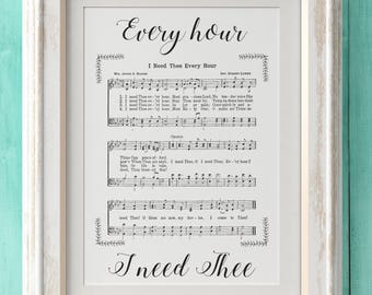 I Need Thee Every Hour - Hymn Print - Hymn Art - Hymnal Sheet - Home Decor - Music Sheet - Gift - Instant Download - Faith - Inspiration