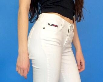 Vintage 90s Y2k 2000s Tommy Hilfiger Low Rise White Denim Flare Jeans