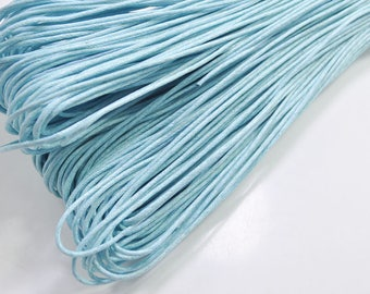 1.5mm Light blue Waxed Cotton Cord , 25 metres/50 metres Light blue Macrame Cord, Cotton Cording, Braided Cotton Cord, Jewelry Cord, GD198