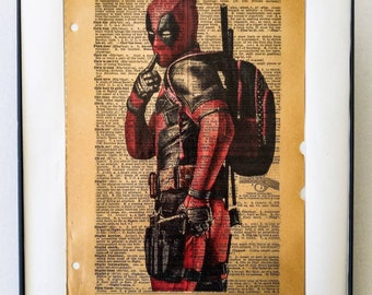 """Marvel Ryan Reynolds Deadpool Art Dictionary print on vintage Dictionary page on the word """"Flirt"""" Frame Included Free Shipping"""