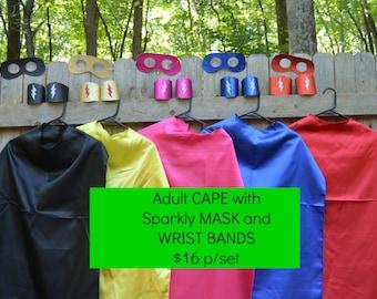 Adult Superhero SET. Adult Superhero Costume. Adult Mask Adult Wrist Bands Adult Wrist Cuffs. Superhero Cuffs. Superhero Costume for Adults.