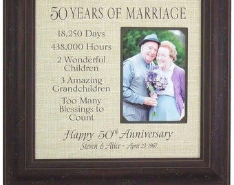 Burlap Wedding Anniversary Gift, Rustic 50th Anniversary Wedding Gift, Personalized Burlap Anniversary Sign, 16x16 overall with 5x7 Photo