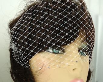 Venetian Birdcage Veil, Birdcage Veil, Crystal Edge Veil, Mini Birdcage Veil, Bridal Birdcage Veil, Bridal Veil, REX3040
