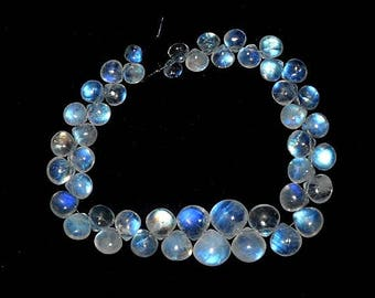 "Natural RAINBOW MOONSTONE smooth Heart shaped beads, 5 mm - 11 mm ,8""strand[E0070]"