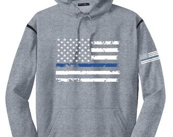 Thin Blue Line Flag Moisture Wicking Fleece Color Block Hooded Sweatshirt SKU: SW254