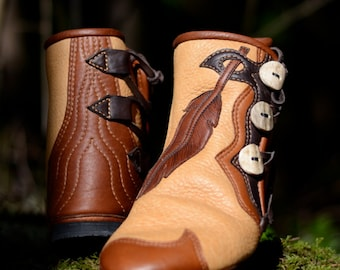 Feather & Leather Moccasin Boots - Custom Moccasins - Earth Boots  - Women's Boots -  Fairy Moccasins - Forest Pixie Boots - Feather Design