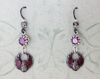 Dracula's Brides' Gothic Scarab Earrings with Black Niobium Earwires & Swarovski Rhinestones