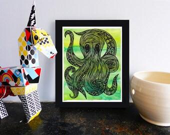 Octopus Printable, Watercolor Illustration Wall Art Print, Sea Animal Decor, Poster, Artwork, Instant Download, 8x10