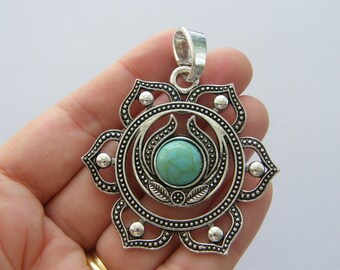 BULK 5 Chakra flower pendants antique silver tone I94