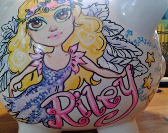Piggy Bank for Kids Personalized Girls Angel Hand Painted