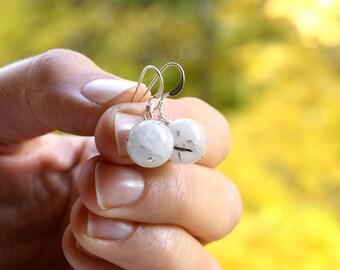 Tourmalated Quartz Earring Dangle . White Stone Earrings . Quartz Crystal Earrings Sterling . Mystical Jewelry . Orb Earrings