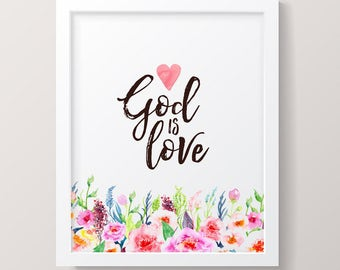 Printable Nursery Art, God Is Love Wall Art Instant Download, Girls Room Decor, Inspirational Christian Picture for Children's Room, Digital
