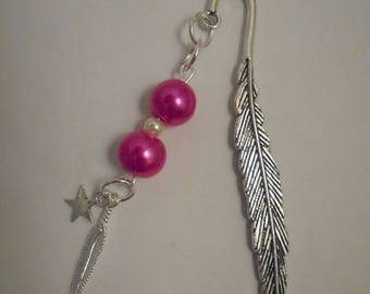 Fancy feather bookmarks, Star, beads and silver