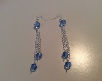 Blue crystal chain earrings