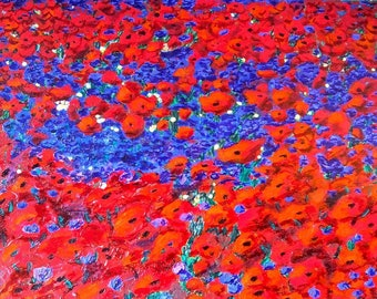 "Painting ""extravaganza of poppies"", acrylic palette knife and markers on canvas alcohol"