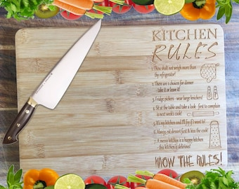 Kitchen Rules - Personalised Engraved Bamboo Chopping Board
