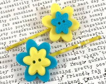 Bobby Pin Flower, Hair Pin Flower, Yellow Blue Flower Hair Accessories, Bobby Pin Girls, Bobby Pin Teen, Button Bobby Pins, Button Hair Pins