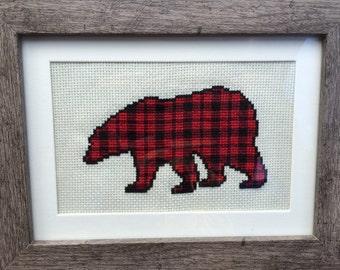 PDF Buffalo Check Bear Lumberjack Baby Room Nursery Cross Stitch Downloadable Digital Pattern