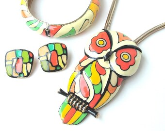 RESERVED Signed EISENBERG Enamel Jewelry Set, Owl Necklace Bangle Earrings Mod Jewelry, Cream Orange Gold Yellow Chartreuse and Lime Green