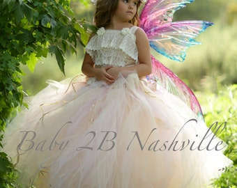 Ivory Lace Dress Flower Girl  Dress  Blended Blush Dress Couture Tulle Dress Party Dress Birthday Dress Toddler Dress Girls Dress