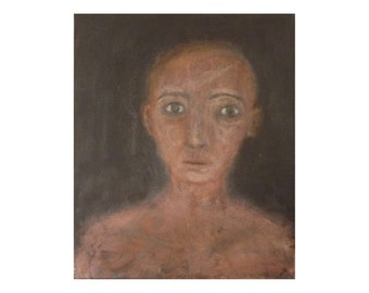 Black woman portrait painting sadness loneliness Brown Canvas Face Figure Wall art Expressionism Original modern artwork gift for men women