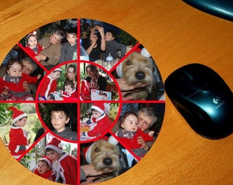 Round mouse pad personalized with 12 pictures of your choice