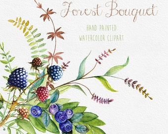 Berries Watercolor ClipArt. Hand Drawn Blueberry, Blackberry, DIY elements, invite, transparent, digital png