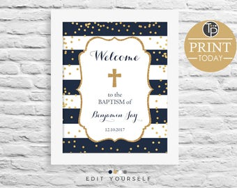 NAVY Gold BAPTISM Welcome Sign, Instant Download, 10 x 8 Welcome Sign, BAPTISM Welcome Sign, Christening Welcome Sign, Boy Baptism