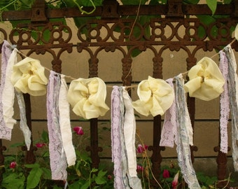 Rustic FLOWER Rosette Garland Rag Fabric Lace Bunting SHABBY Chic WeddingYellow Purple