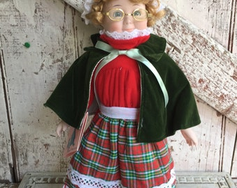 Porcelain Granny Doll with glasses plaid cap skirt green cape vintage Marian Yu doll