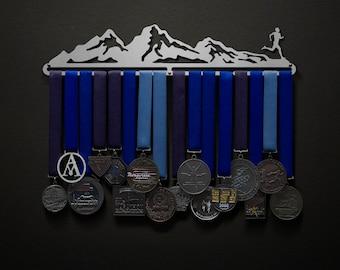 Mountainscape - Male or Female Mountain Runner - Allied Medal Hanger Holder Display Rack