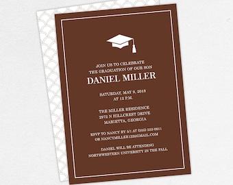 Graduation Invitation, Graduation Announcement, Printable Invite, Invitation PDF, DIY Graduation, Printed Invites, Modern, Boy, Dan, Brown