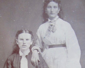 Sisters - Cute 1880's Tired Girls Beaten Down By Life Tintype Photograph - Free Shipping