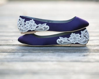 Purple Flats,Purple Wedding Shoes/Purple Wedding Flats,Flat Wedding Shoes,Bridal  Flats,Satin Flats,Gift,Bridal Shoe,Flats With Ivory Lace