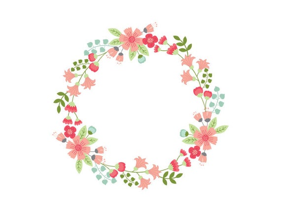 floral wreath clipart digital vector flowers wedding circle rh etsystudio com Wedding Flower Clip Art wedding wreath clipart