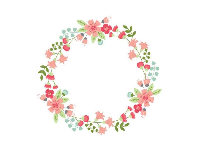 Floral Wreath Clipart Digital Vector Flowers Wedding