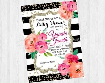 Baby Shower KateSpade Inspired Invitation