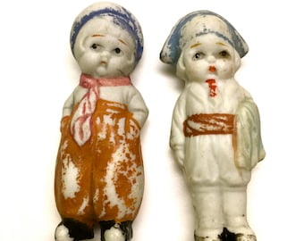 Bisque Dolls, Male Doll Pair - Penny Dolls, Frozen Charlotte Dolls, Made in Japan