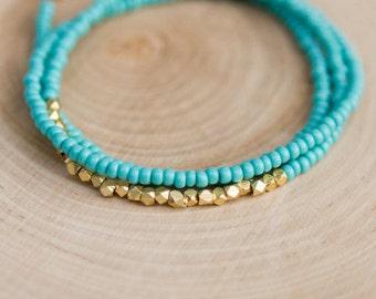 Turquoise Seed Bead & Gold Bead Wrap Bracelet