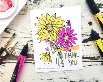 Coloring Postcard, thank you, handdrawn floral postcard