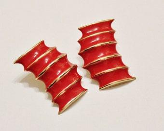 Red Gold 1980's Earrings, Enamel Earrings