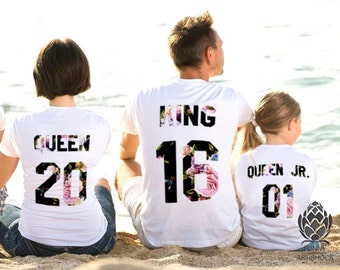 King Queen Prince Princess 01 Father Mother Daughter Son Matching shirts , King and Queen shirts, 100% cotton Tee, family shirts