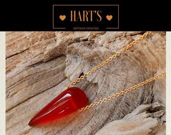 Carnelian Gemstone Pendant 14K Gold Necklace