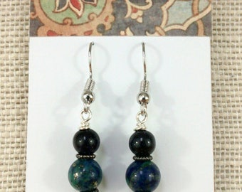 Blue Goldstone and Lapis Lazuli Gemstones Dangle Earrings on Surgical Steel Ear Wires